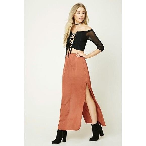 2080dae658e Forever21 maxi rust satin skirt with side slit